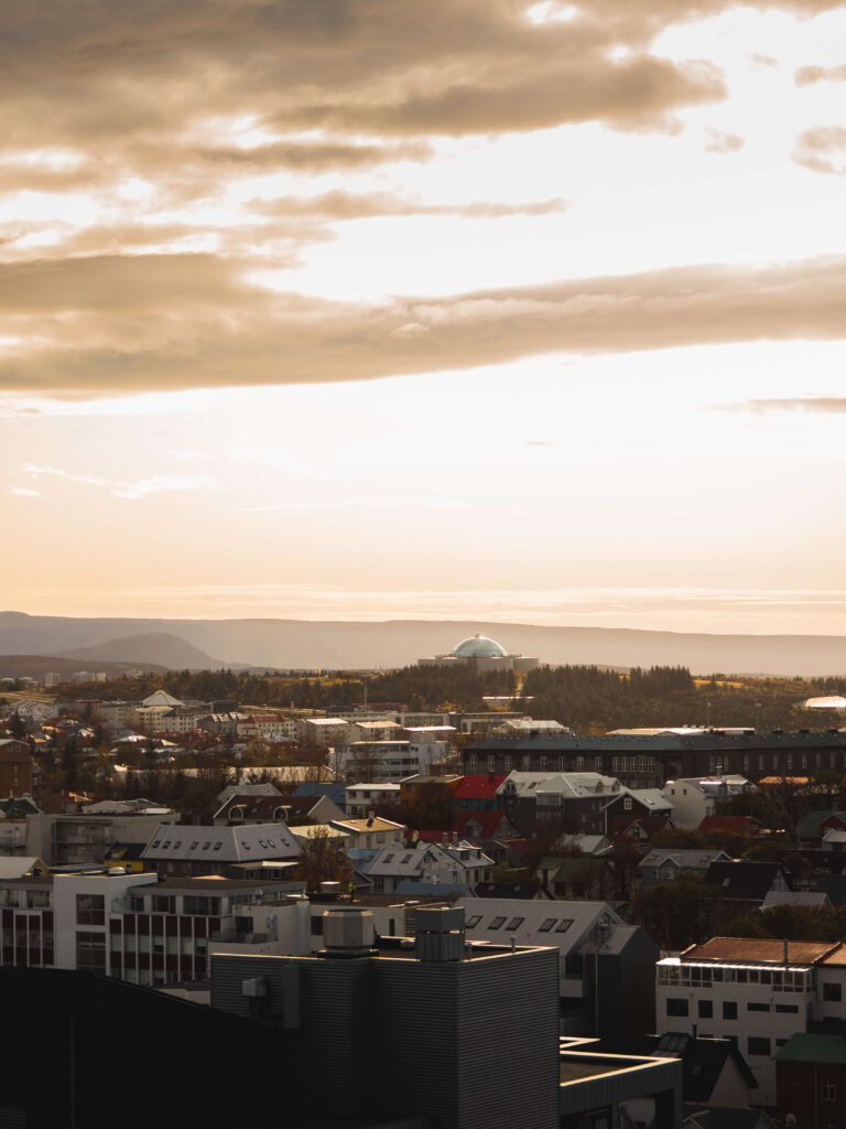 reykjavik panorama in the evening with the sun set