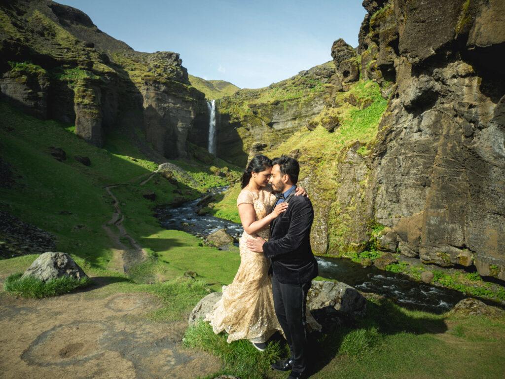 indian couple on honeymoon in Iceland