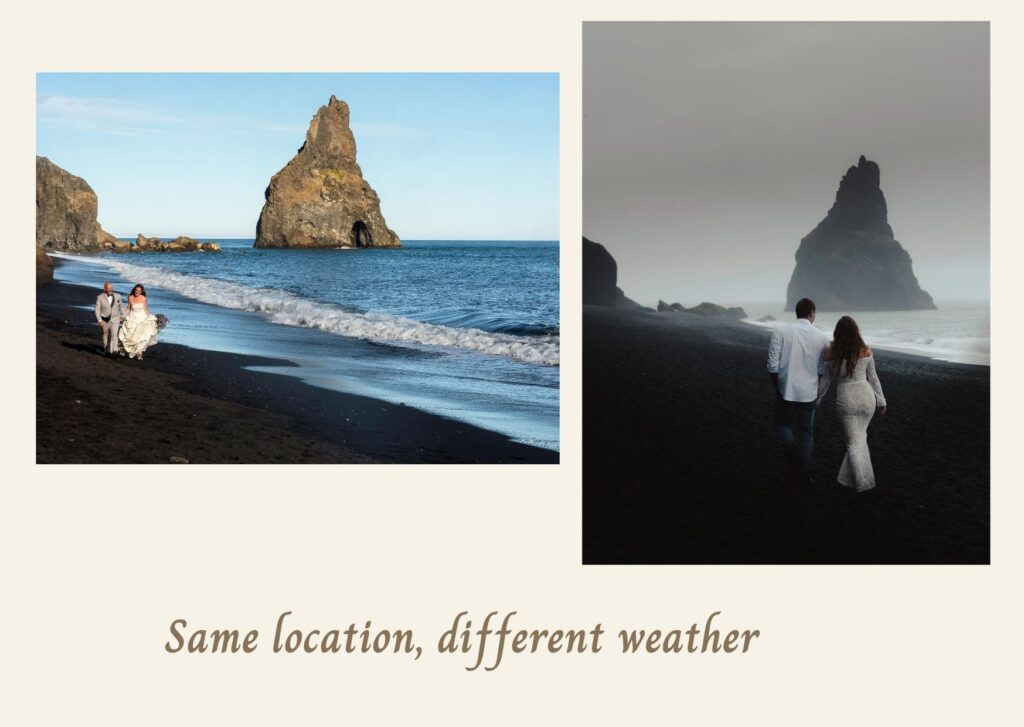 two photos of coupkes taken in the same location but in totally different weather