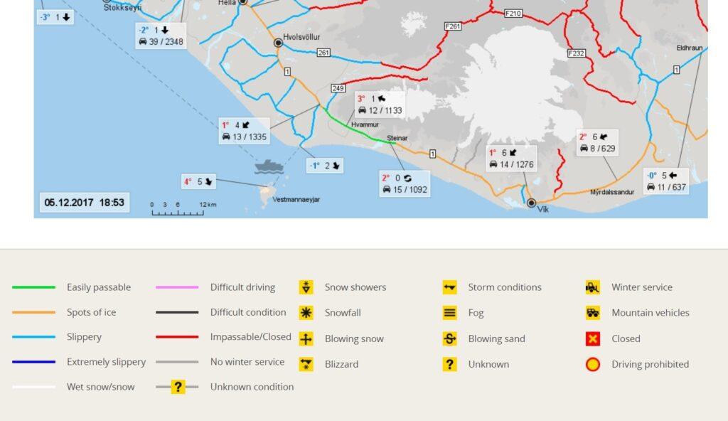 screenshot of the icelandic road conditions website