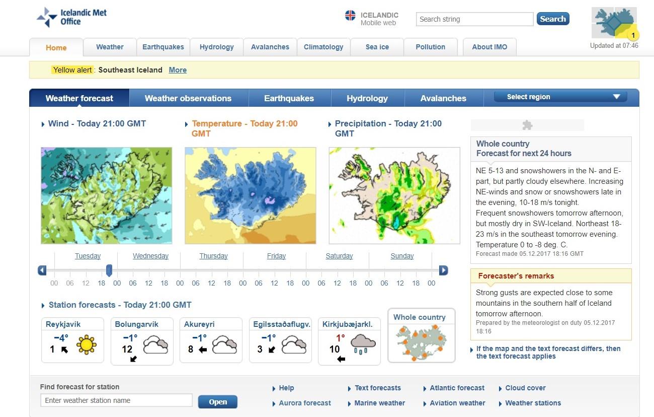 screenshot of icelandic weather website