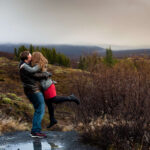 Honeymoon couple cuddling in Iceland