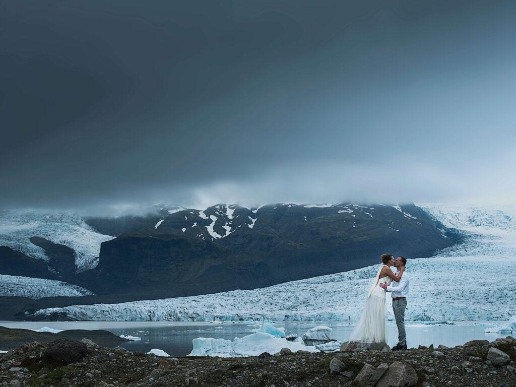 moody photo of wedding couple