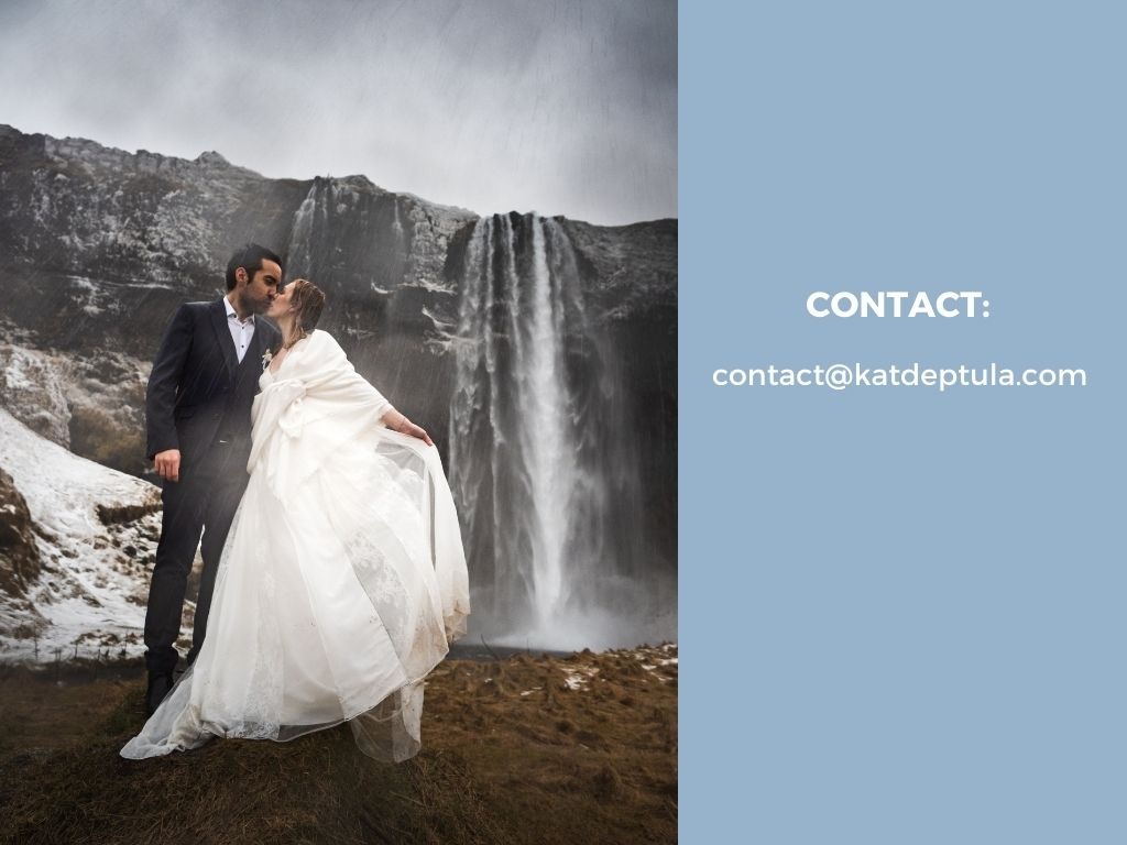 Kat Deptula contact details on blue background and newly wed couple kissing in fornt of the waterfall