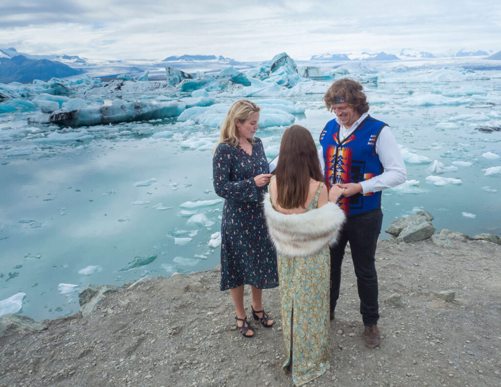 iceland wedding in the ice lagoon