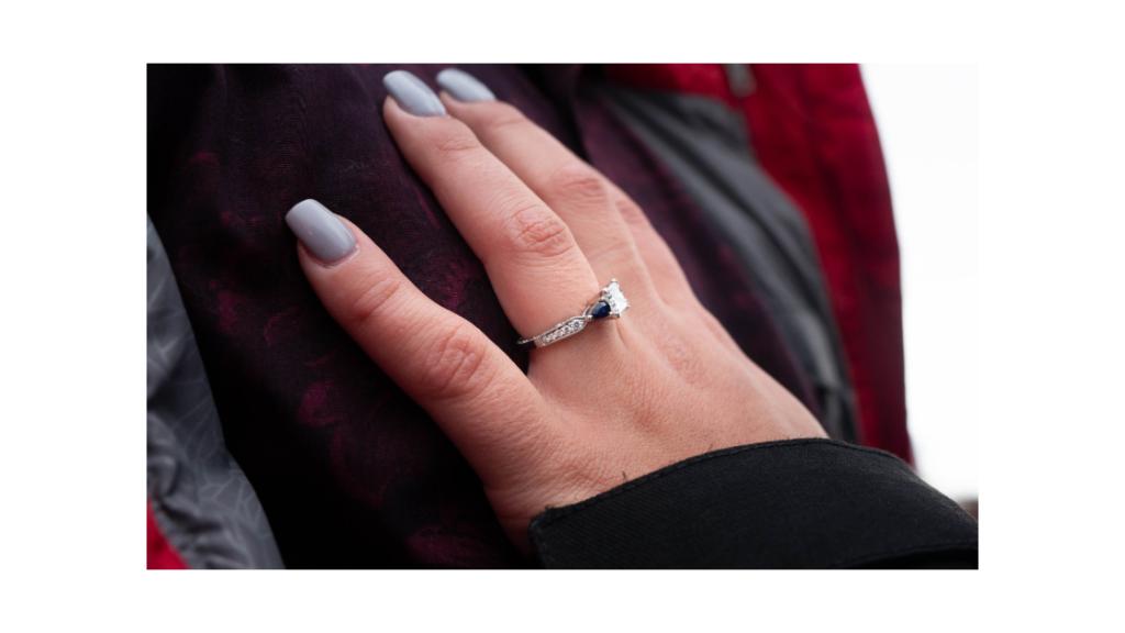 secret proposal detail engagement ring photo