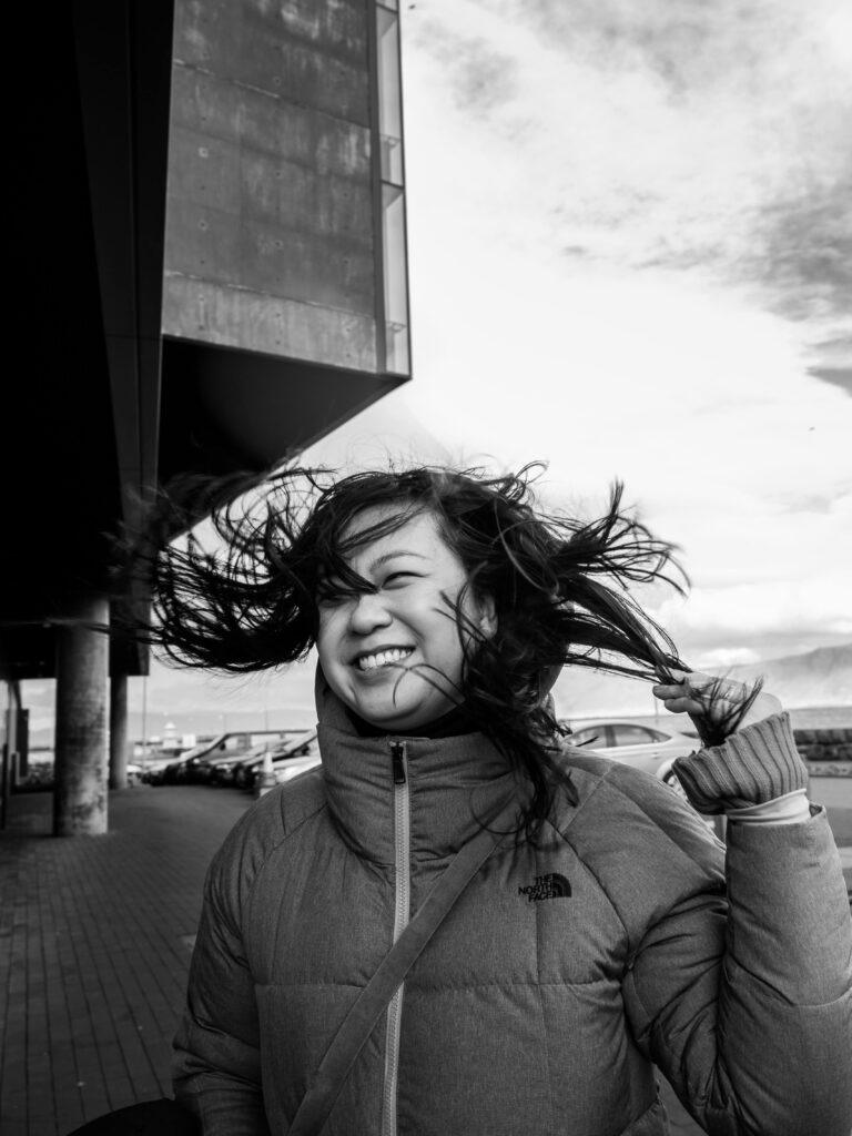 solo travelphotoshoot iceland reykjavik windy day